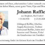 Johann-Raffler-Traueranzeige