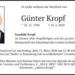 Günter-Kropf-Traueranzeige